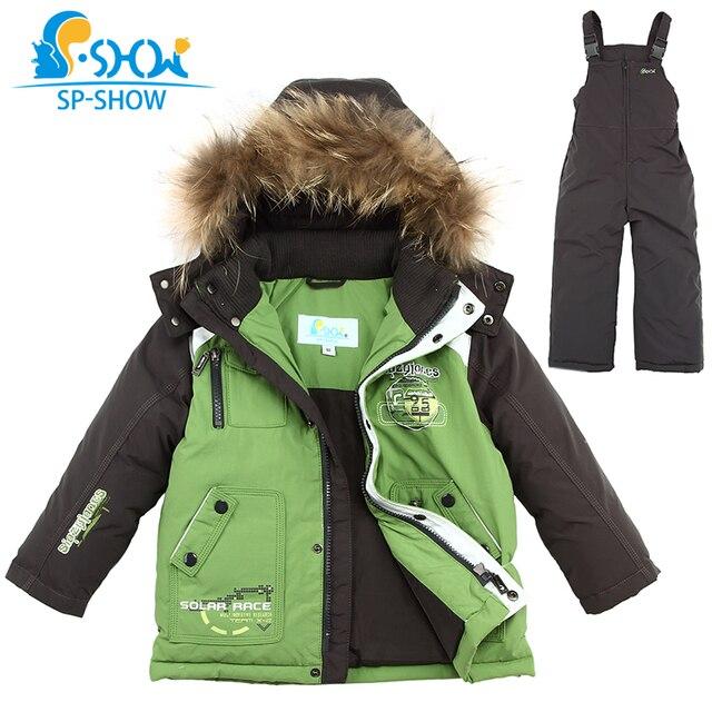 одежда для детей 2-7 лет ,куртки для мальчиков с бесплатной доставкой ,новая зимняя коллекция 2016г,детский утолщенный комплект с капюшоном(куртка из пуха+комбинезон из холлофайбера) с натуральным мехом енота