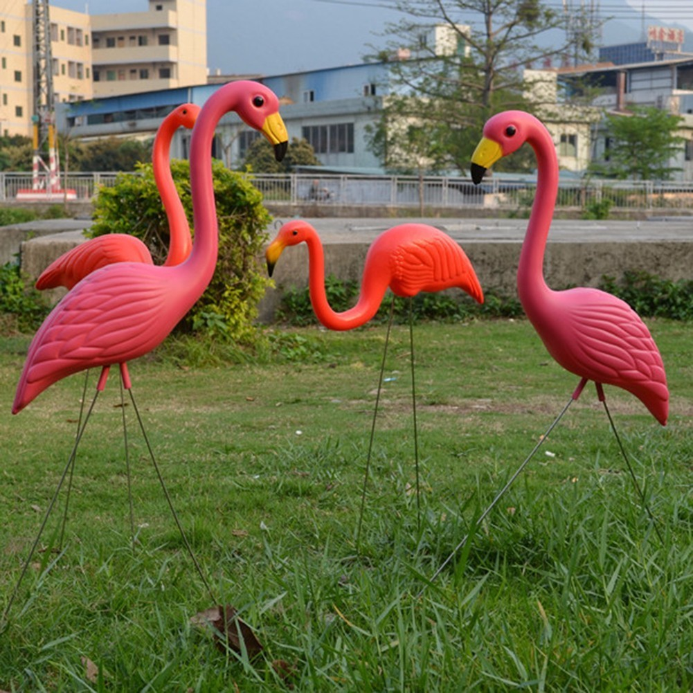 2Pcs Lifelike Artificial Red Flamingo Ornament Home Garden Lawn Decoration Christmas Party Balcony Decoration