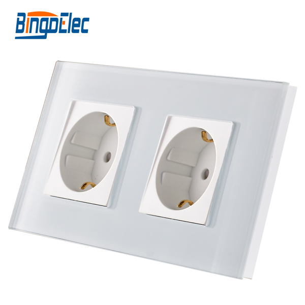 EU standard double gang power socket,germany type wall socket,white Crystal toughened glass panel,16A wall socket,