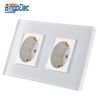 EU Standard Double Gang Power Socket Germany Type Wallr Socket White Crystal Toughened Glass Panel 16A