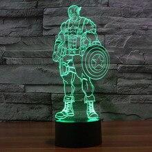 font b 3D b font Lamp Captain America Series luminaria USB font b LED b