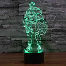 3D Lamp Captain America Series luminaria USB LED Lamp Novelty Night Light Holiday Light Glowing Christmas Gift Colorful lampara