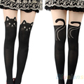 2016 hotSexy Cat Tail mujeres Gipsy rodilla Mock alta calcetería Pantyhose Panty medias del tatuaje 000C 8QC7