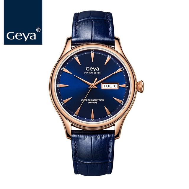 00f4b6506a4 Geya Men s watch Quartz Watches Man Top Brand luxury Waterproof Leather  Blue Gold Business Wrist Watch for Men Saat Erkekler