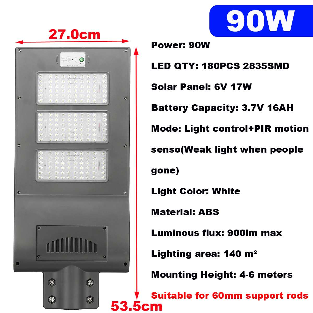 90W All in one Solar  180LEDs Solar  Street Light PIR Motion Sensor Waterproof Outdoor Garden Road Street Pathway Lamp|Street Lights| |  - title=