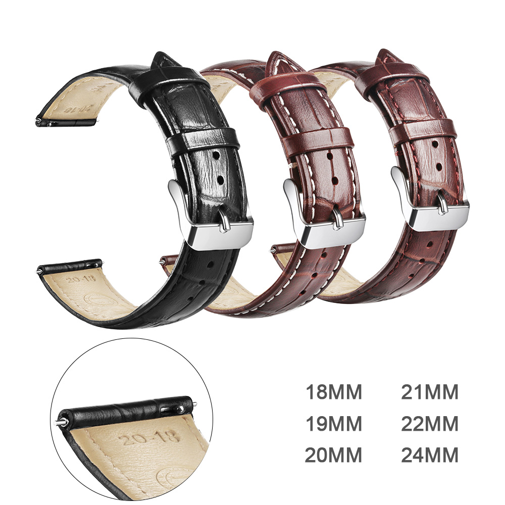 Switch Genuine Leather Watchbands 18mm 19mm 20mm 21mm 22mm 24mm Watch Band Strap Belt Pin Buckle Quick Release Raw Ear
