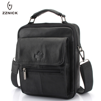 ZZNICK 2017 New Men S Genuine Leather Messenger Bag Male Wax Leather Crossbody Shoulder Bag Cowhide