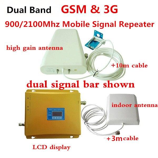 Double Bande Booster GSM 3G Répéteur GSM 900 MHz UMTS 2100 MHz Téléphone portable GSM WCDMA Signal Répéteurs GSM 3G Amplificateur
