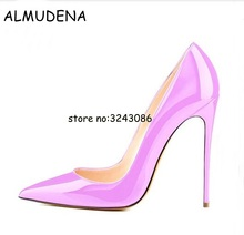 Фотография Pink Black Nude Leather Pointed Toe Sexy High Heels Stiletto Patent Leather Suede Woman Pumps Shoes Wedding Party Dress Shoes