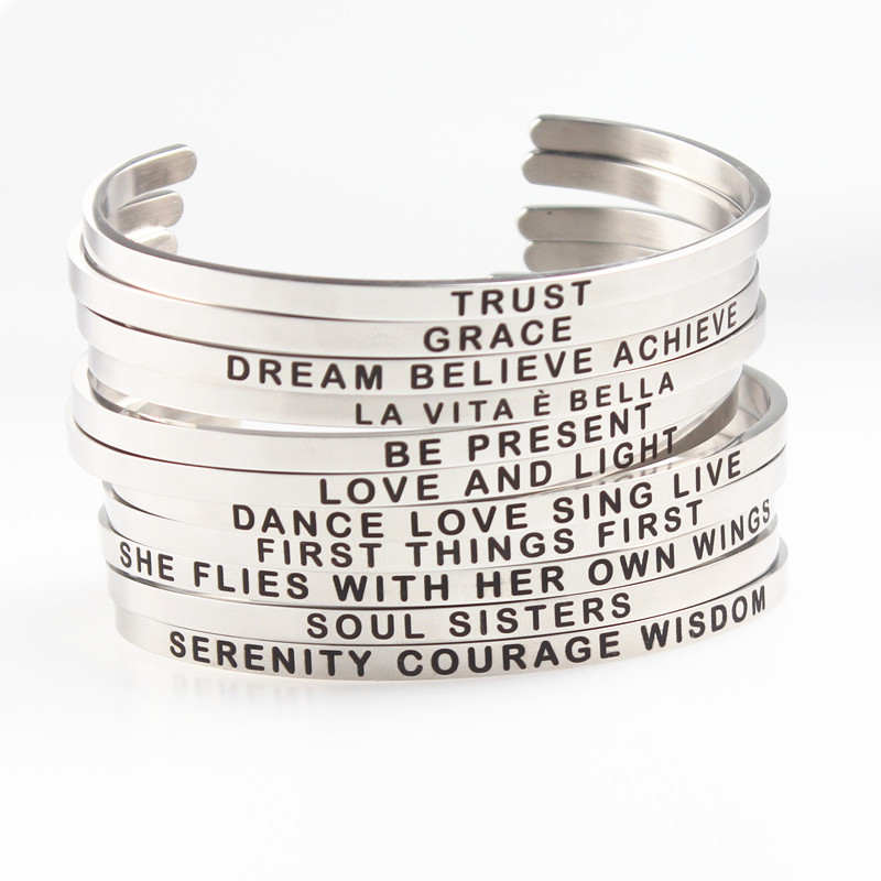 Simple 1PC Inspirational Bracelet Cuff Open Bangle Letter Engraved Gift