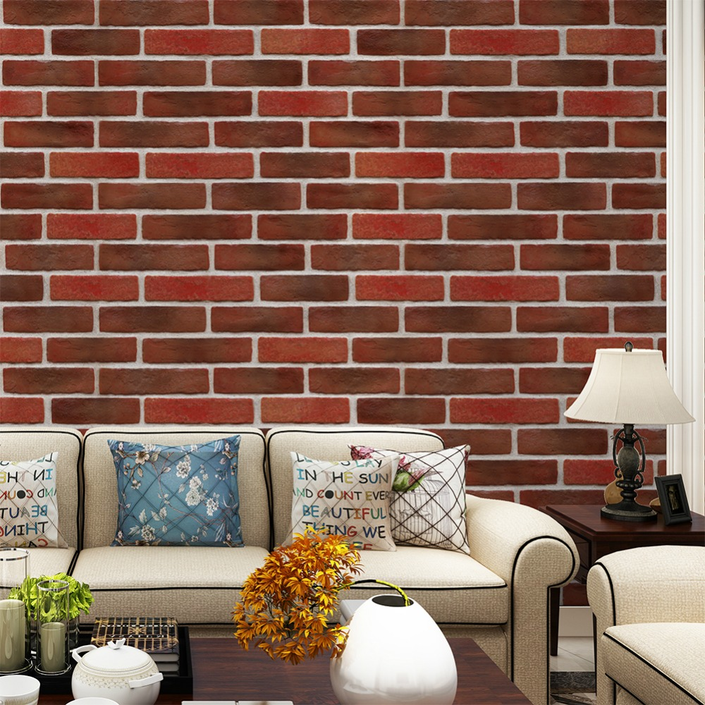 HaokHome Vintage Retro Faux Brick PVC Wallpaper 3D Realistic Stone Rolls Brick Red/Grey Living room Bedroom Home Wall Decoration wall art vintage stone brick tapestry for bedroom