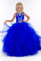 Shining Blauw Roze Jewel Kralen Bloem Meisje Jurken Prinses Jurken Pageant/Party Dress Custom Made Maat 2-6 8 10 12 14 F18162
