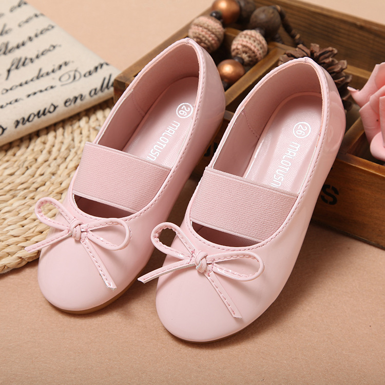 Princess-Shoes Girls Flower Autumn White/black Children Patent Band Soft-Sole Bowknot