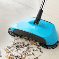 Aço inoxidável máquina arrebatadora tipo push mão vassoura mágica dustpan lidar com pacote de limpeza doméstica mão push sweeper mop