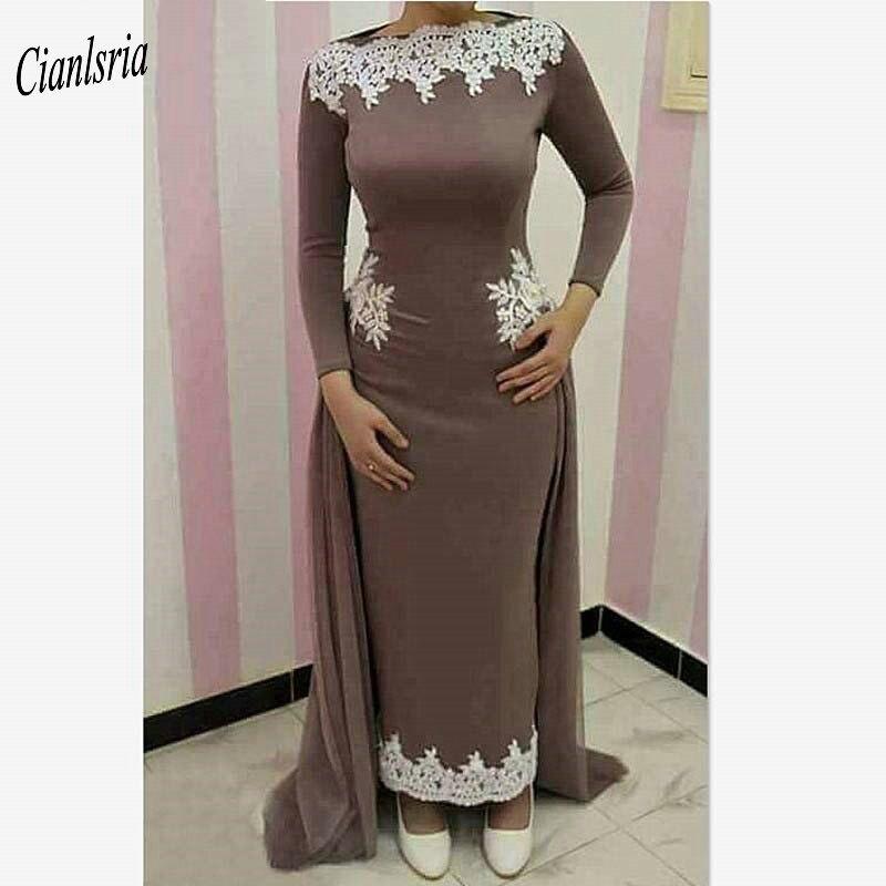 Caftan arabe femmes sirène mère de la mariée robes manches longues blanc Appliques 2019 cheville longueur robe de bal robe de soirée