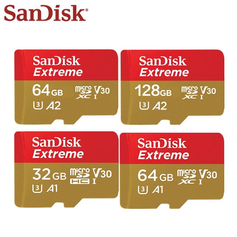 SanDisk Memory Card Extreme 32GB 64GB 128GB SDXC High Speed UHS-I Micro SD Card U3 4K A2 Flash Card Memory Microsd цена 2017