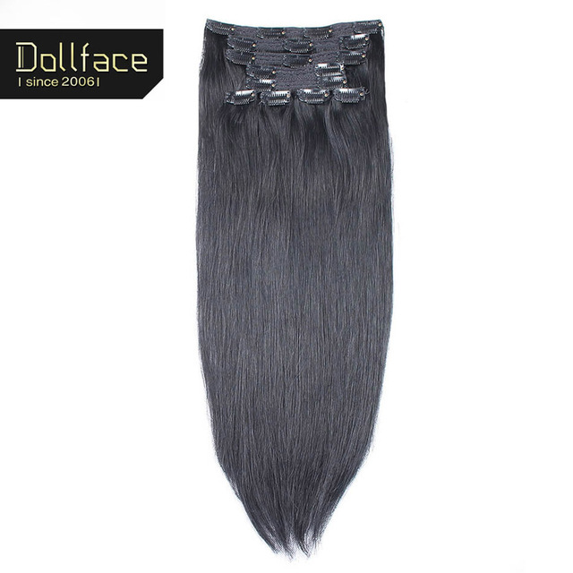 Dollface Straight Clip In Human Hair Extensions 140g 10pcs Black