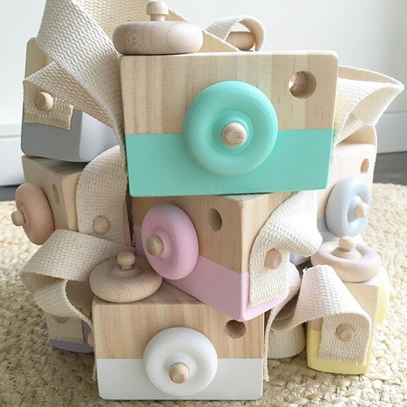 Lovely Cute Wooden Cameras Toys For Baby Kids Room Decor Furnishing Articles Child Birthday Gifts Nordic European Style 6 Colors