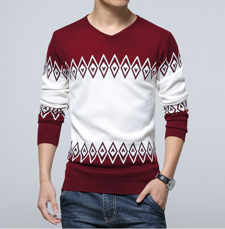 Nisexper 2018 New Knitted Sweater Men Casual Fashion Slim Mens Sweater V-neck Long Sleev ...