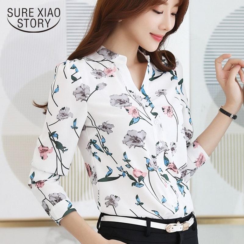 2018 New Fashion print chiffon   blouse   V- neck   shirt   plus size women Chiffon   Blouse     Shirt   Female Work Office Tops Blusas 882G