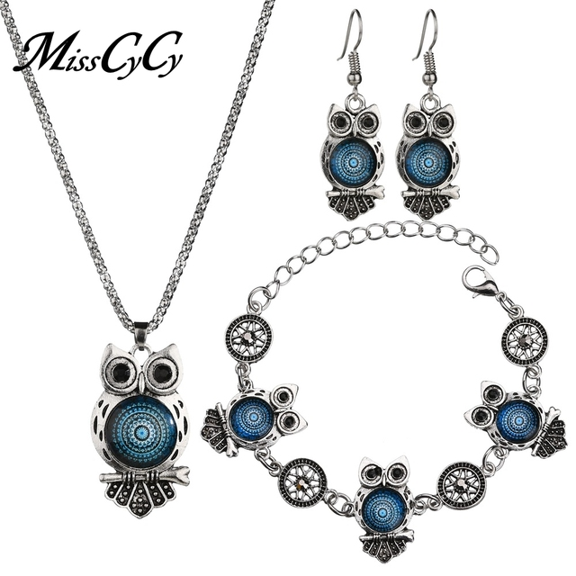 MissCyCy Ancient Silver Color Owl Jewelry Set New Synthetic Blue Stone Pendant Necklace