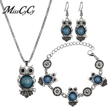 MissCyCy Ancient Silver Color Owl Jewelry Set 2018 New Synthetic Blue Stone Pendant Necklace Bracelet Earring Sets for Women(China)