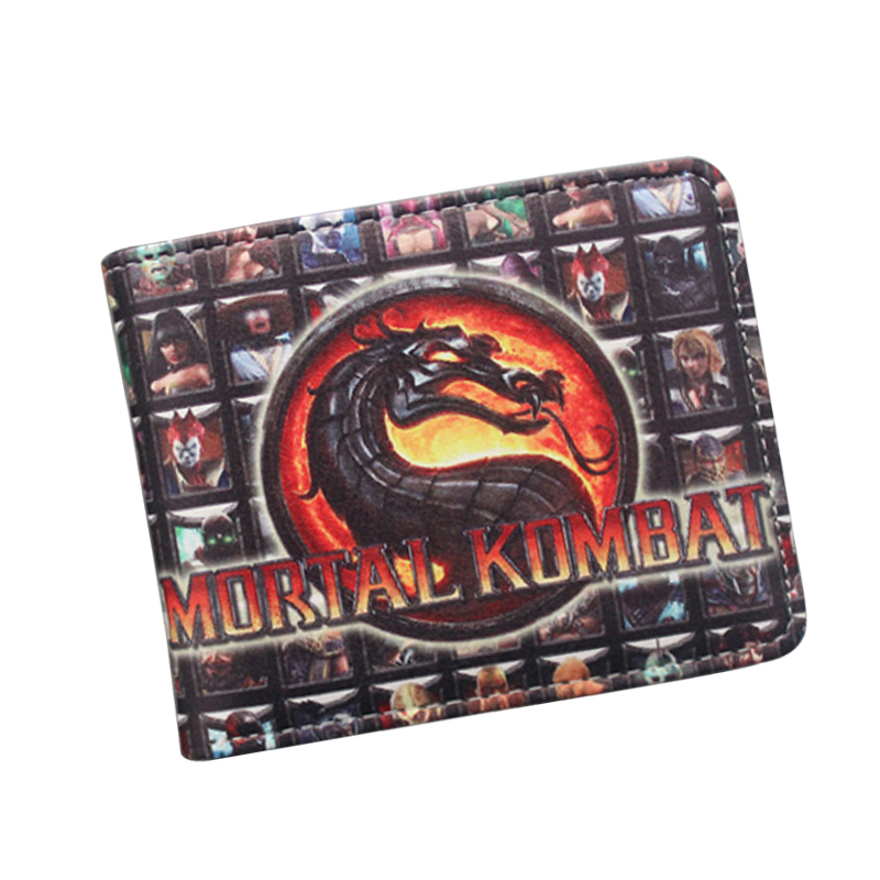 portefeuille Big Wrestle Game Wallet Leather MORTAL KOMBAT X Dragon Wallet For Men 2 Fold Money Bag Clip Comics Wallet Wholesale