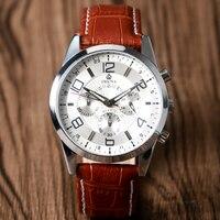 Nueva lista de Los Hombres Marca de relojes de Lujo Relojes de Moda Reloj de Cuarzo Banda de Cuero Correas de Reloj Deportivo Reloj de Pulsera relogio masculino