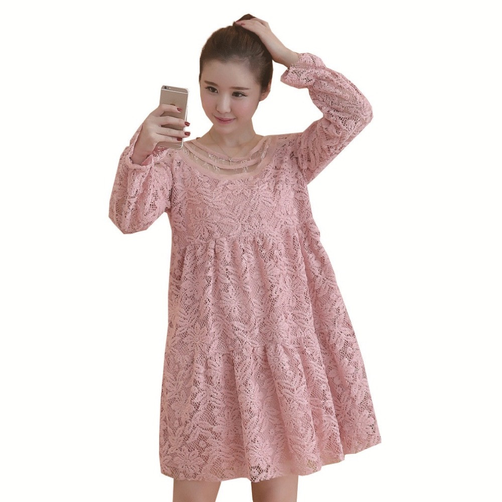 Online get cheap pink maternity dress aliexpress alibaba group gray pink lace maternity dresses elegant long sleeve pregnancy clothes for pregnant women fashion pregnant clothing ombrellifo Gallery