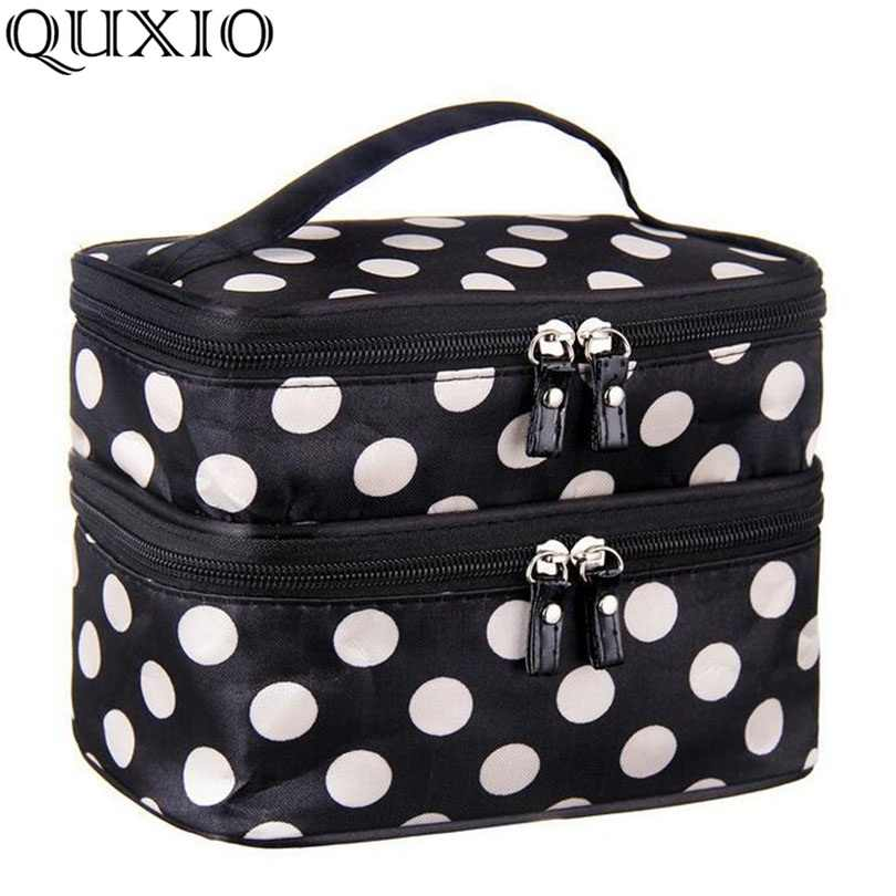 4535010b9fd7 Detail Feedback Questions about Double Layer Dot Cosmetic Bag Women ...