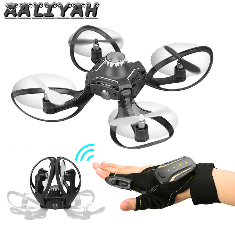Glove Controlled Drone Quadcopter with Camera 480P Aerial photography RC Aircraft Portable Fold Drone Remote Phone Camera Drone