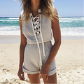 2016 Women's Jumpsuit Sleeveless Lace Up V-neck Casual Shorts Beach  Playsuit