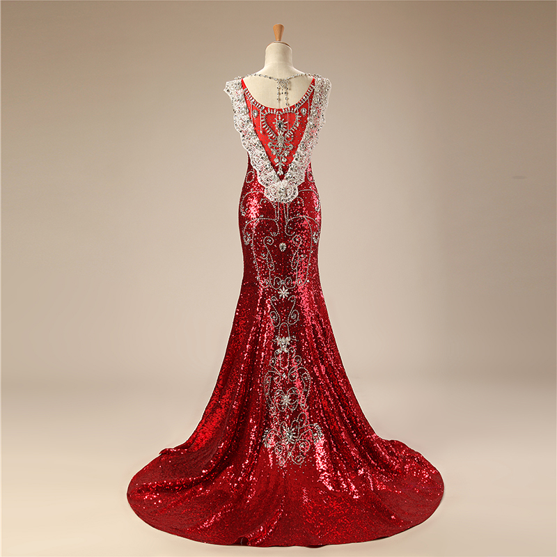 ed5bef43e3d41 US $253.33 23% OFF|Luxury Arabic Evening Dresses Long 2018 Mermaid V Neck  Floor Length Sparkly Beading Diamond Sequin Evening Gown Red Prom Dress-in  ...
