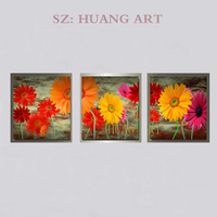 Hand painted oil painting all kinds of flowers, all kinds of modern portfolio 3 p home decoration painting flowers, red yellow f
