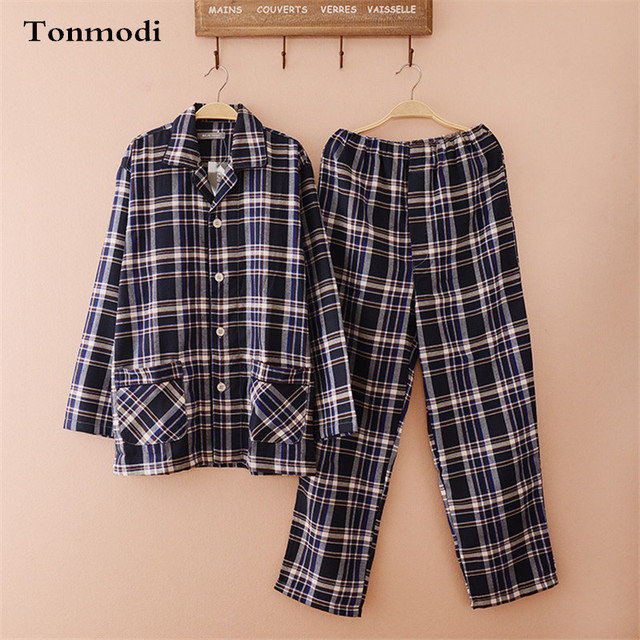 Cotton Pajama Set Men Spring And Autumn Plaid Long Sleeve Cardigan Thick Pyjamas Men Lounge Sleepwear Set