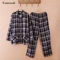 Conjunto de Pijama de algodón Hombres Primavera Y Otoño A Cuadros de Manga Larga chaqueta de Punto Grueso Pijamas Hombres Conjunto Salón de la ropa