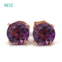 Natural Amethyst Silver Earring Round 6mm 6mm Deep Purple Color Brief But Fashion Design Hotsale
