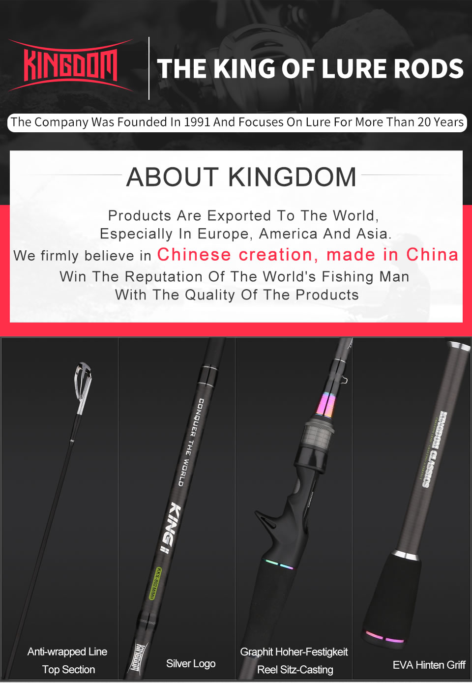 Kingdom KING II Spinning Rod Combo Baitcasting Spincasting Fishing Rods Reel set 2pc Top Section and 2pc Power Fishing Tackle (5)