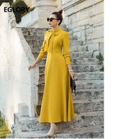 Bow Tie Elegant Long Dress Luxurious Women Solid Yellow Grey Blue Maxi Dress With Pocket Ladies Casual Autumn Dress Long Party