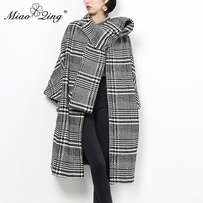 MIAOQING Woman Coats Winter 2018 Vintage Plaid Long Coat Clothes Modis Befree Scarf Wool Ladies Coats Black Oversized Jackets