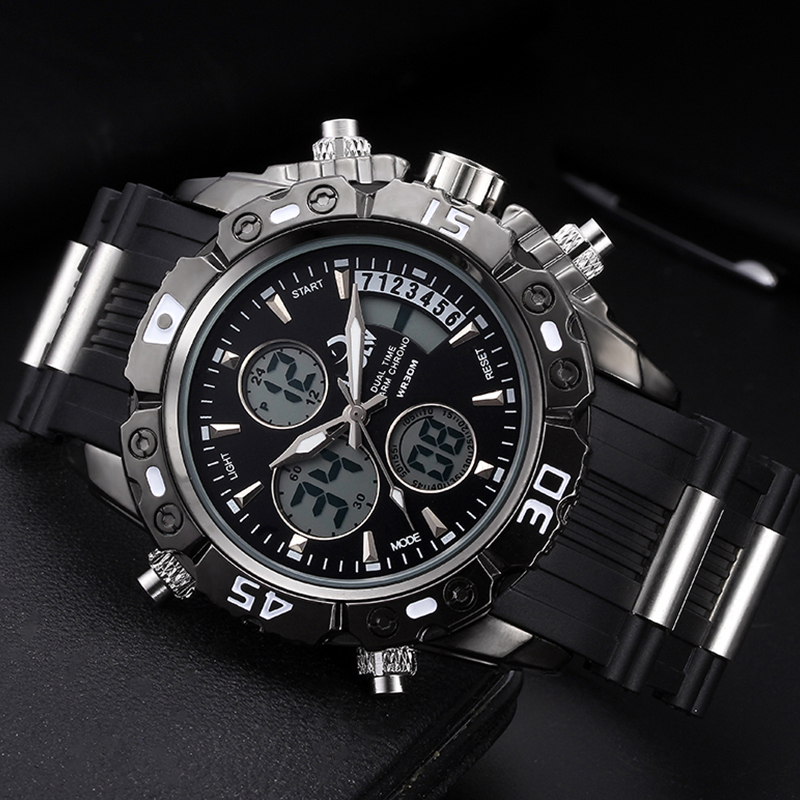 цена Big Size Men Quartz Analog LED Digital Clock Man Military Waterproof Watch Relogio Masculino New Fashion Men Sports Watches