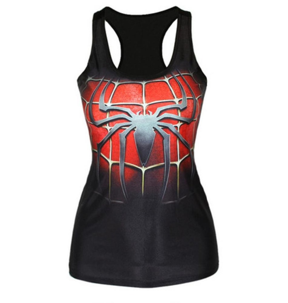 Women Spiderman Print Fitness Casual Vest Workout Seamless Summer Aerobics Exercise Stretch Tank Top Hiphop Fiber Soft