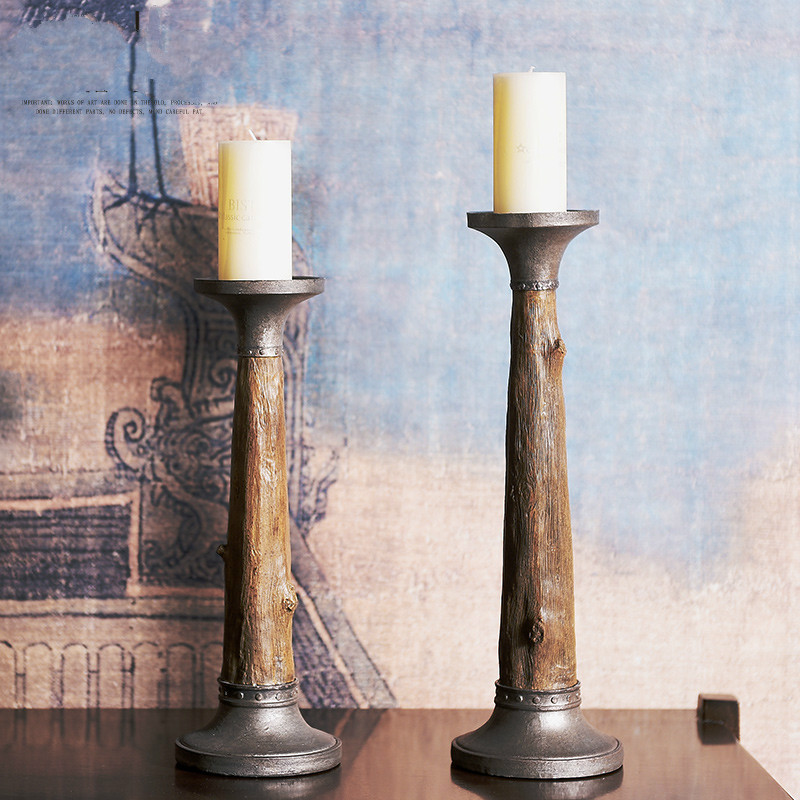 American Country Retro Old Candlestick Creative Craft Home Decoration Display Stump Candlestick
