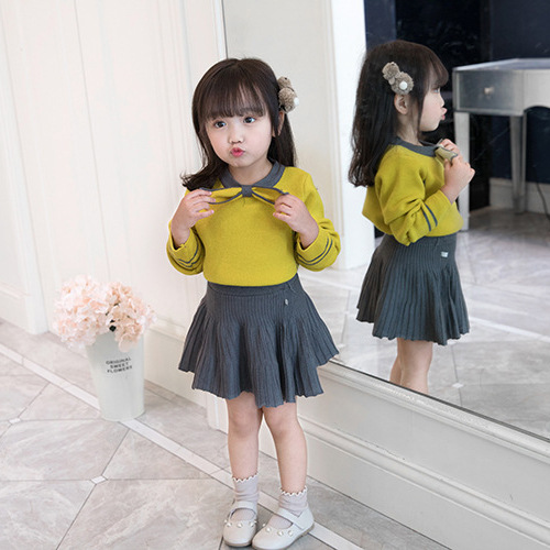 Girls Sets 2018 autumn new Children 2Pcs Sets Sweater Top+Knit Skirt Sweater Suits Kids Girl Clothing bear leader girls skirt sets 2018 new autumn&winter geometric pattern long sleeve sweater skirt 2pcs knitwear sets for 3 7 years