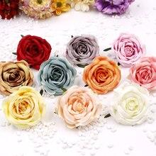 7cm Vintage flor de Rosa artificial cabeza DIY hecho a mano novia corona decoración coche de la boda caja de regalo para fiesta de cumpleaños decoración de dulces