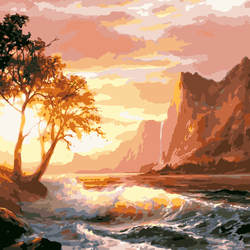 Закат горы и морей пейзаж DIY цифровая картина маслом номера современные стены книги по искусству холст живопись уникальный подарок