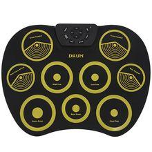Портативная электронная барабанная установка, барабанный набор, 9 силиконовых подушечек, питание от USB, с педалями для ног, барабанные палочки, кабель USB