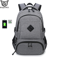 BAIJIAWEI 2019 New Business Laptop Backpack Oxford USB Charging Shoulder Bags Male Leisure Backpack Travel Computer Bag