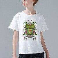 새로운 레트로 쿨 락 & 롤 펑크 T 셔츠 하라주쿠 디자인 소식통 여성 최고 티 올빼미 환각 팝 아트 간단한 스타일 W976