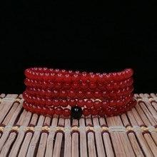 KYSZDL Hot Natural Chalcedony Bracelet Women Fashion 4MM Round Beads Multi-circle MANAO Jewelry Gift